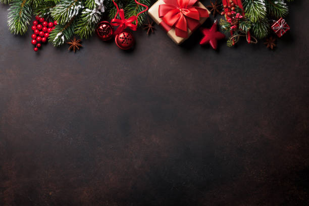 Christmas Background Pic.Christmas Background With Fir Tree And Decor Top View With
